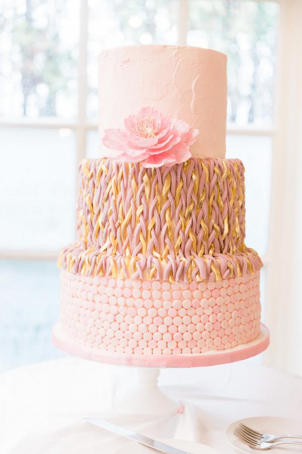 Pastel Vintage Wedding - Blushing Pink and Gold wedding cake