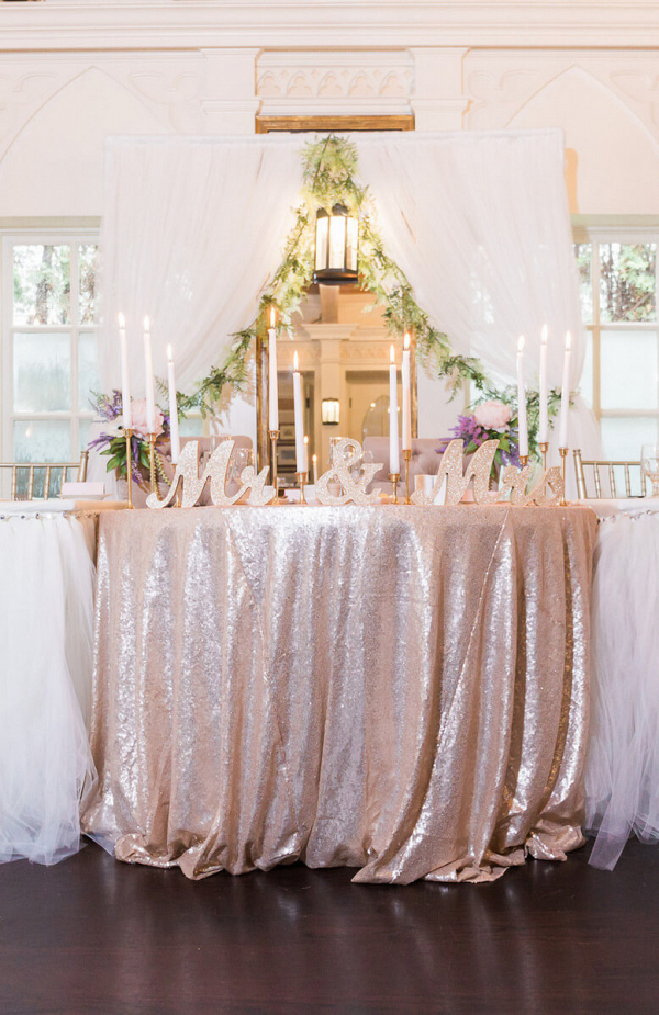 Pastel Vintage Wedding - Head table with sequin and tulle tablecloth