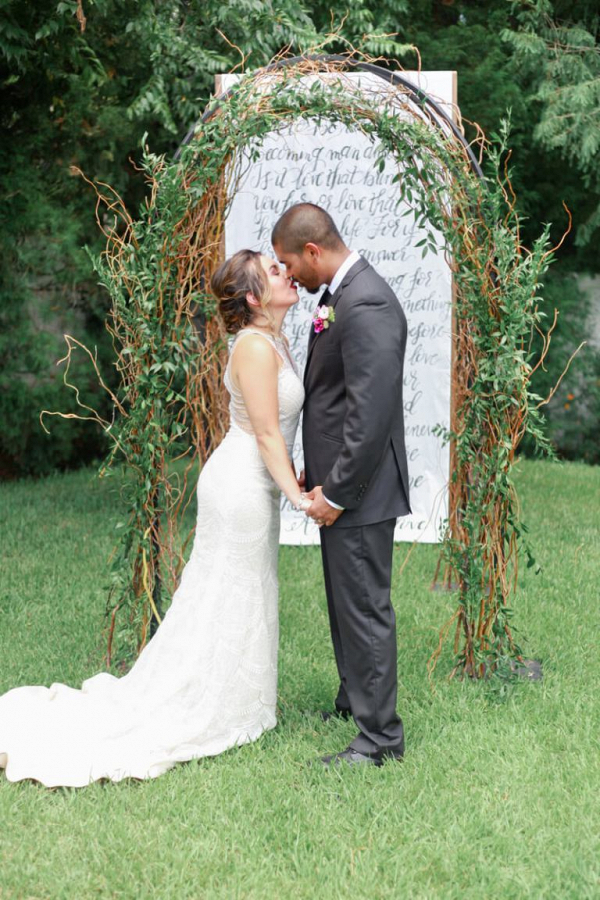 Lovely-greenery-arch-from-a-berry-hued-wedding-inspiration