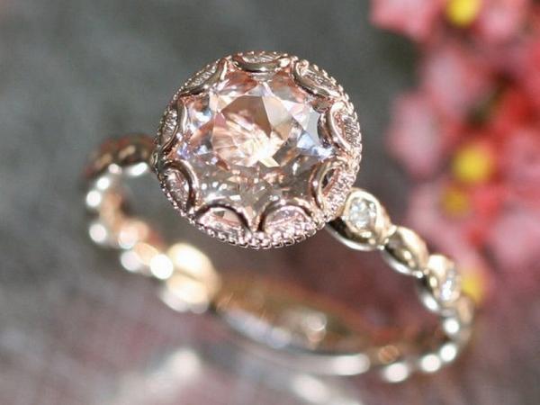 Floral Morganite Engagement Ring