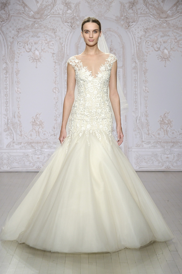 'Roslyn' Embroidered Illusion Tulle Trumpet Wedding Dress