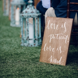 Aisle decor - love is patient love is kind bible verse signage