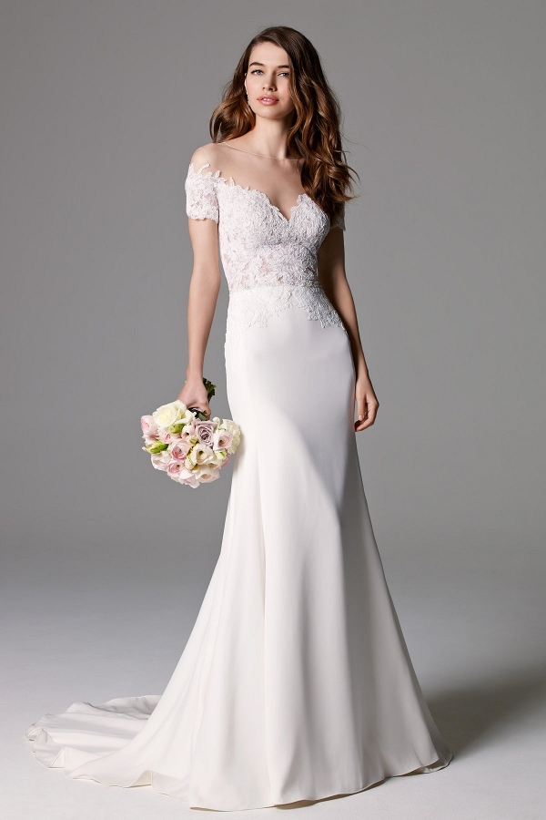 Watters Seaton Off Shoulder Lace Trumpet Wedding Gown