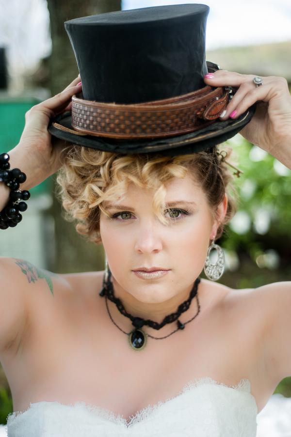 Steampunk Rustic Wedding Inspiration - bride with black hat