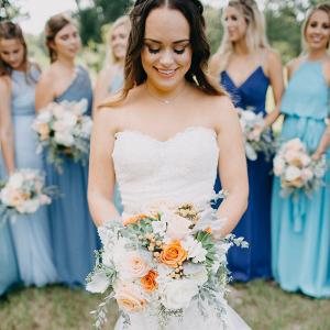 Rustic Texas Wedding - Bride with Blue Bridesmaids