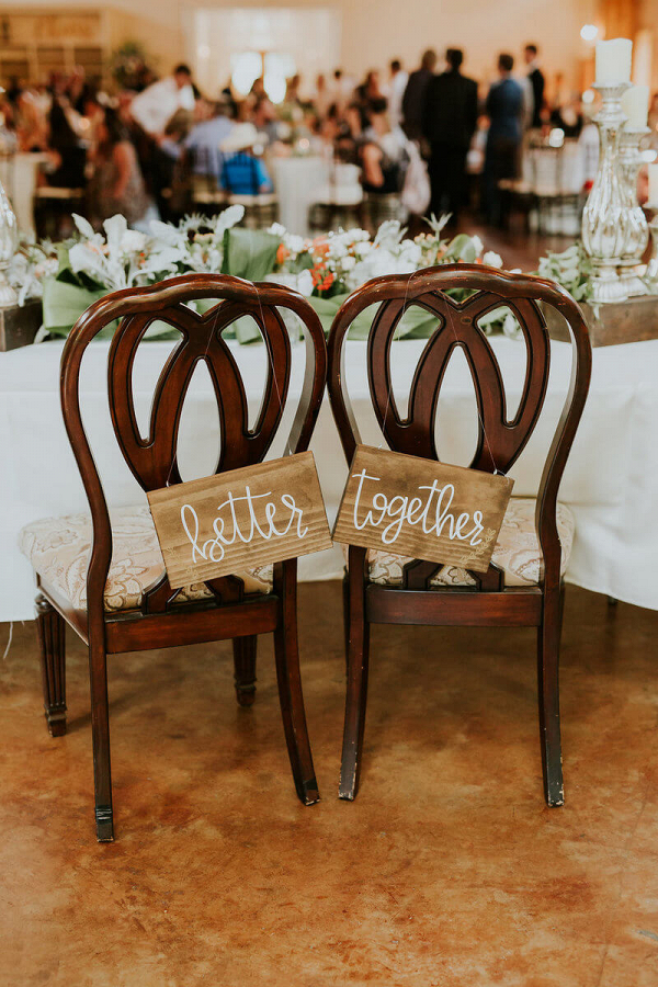 Rustic Texas Wedding - better together chair signs
