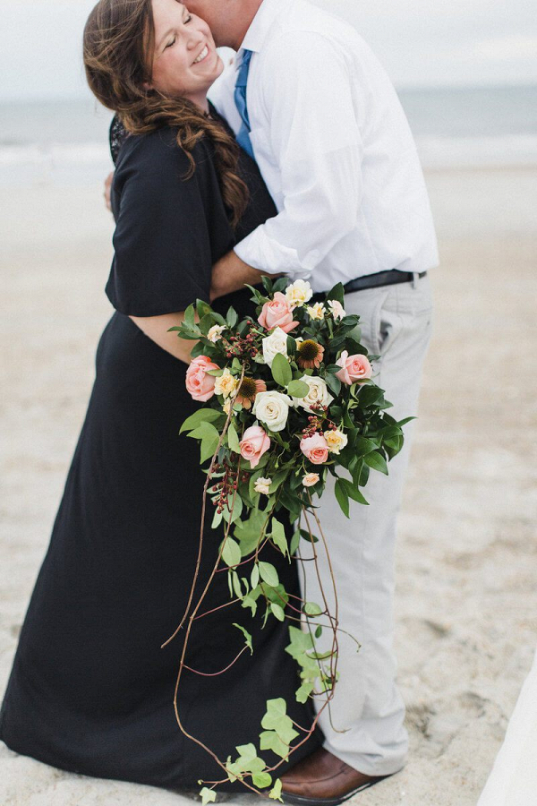 Surprise-Beach-Anniversary-Session-Bride-with-cascading-greenery-bouquet