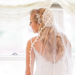 vintage glam wedding bride with skull cap vintage veil