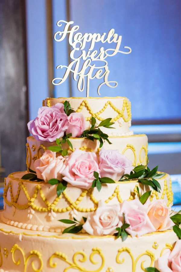 vintage glam wedding - script cake topper
