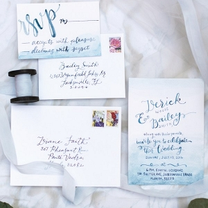 Mid-Summer Romance invitation suite - blue watercolor