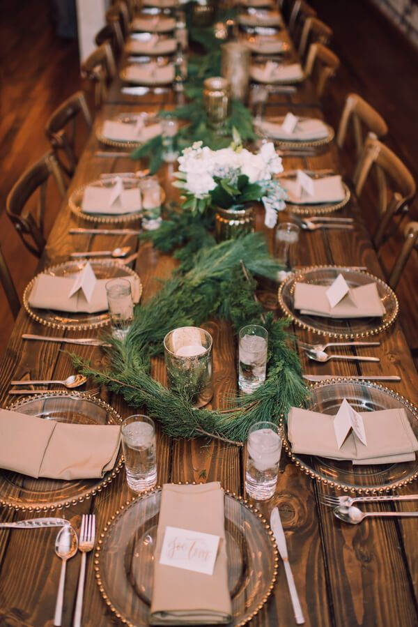 Whimsical Greenery Wedding - reception table with Greenery