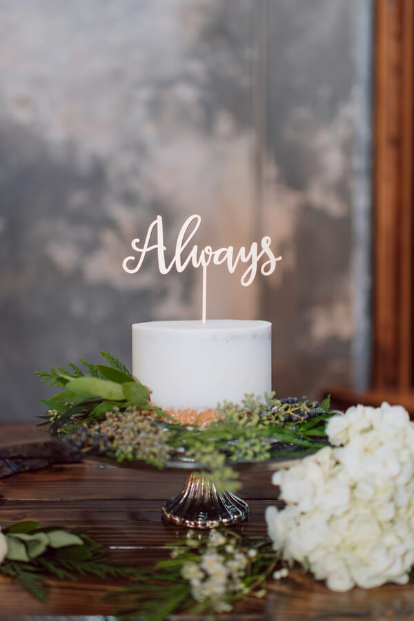 Whimsical Greenery Wedding - always cake topper