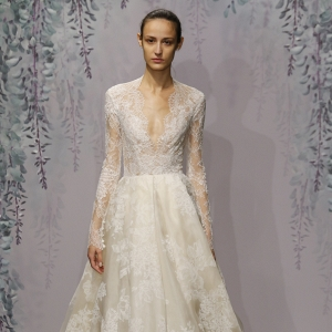 Plunging V-Neck Organza & Lace Ballgown Wedding Dress