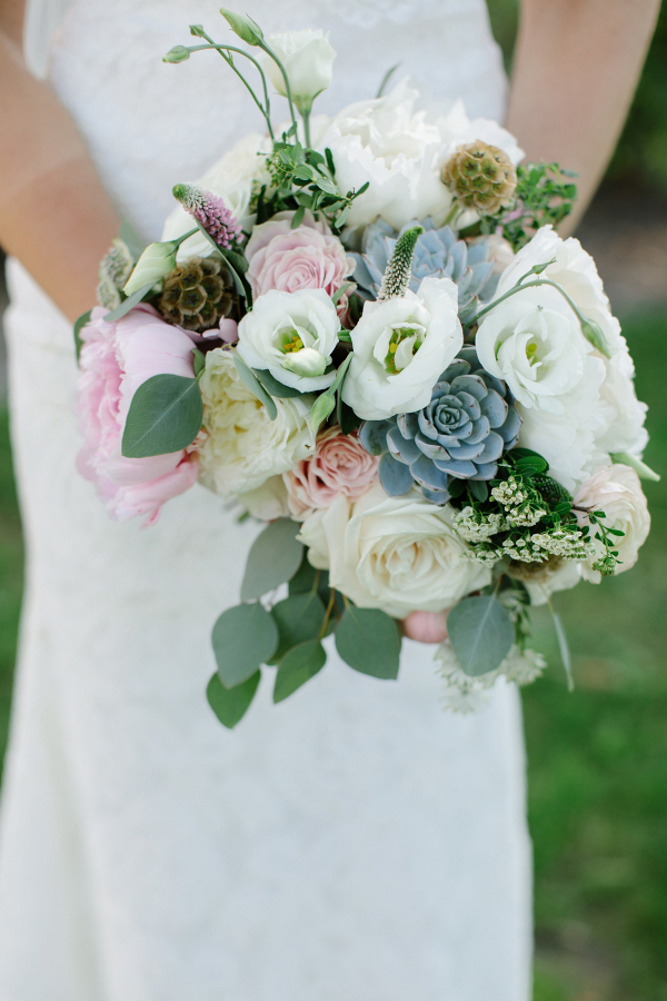 Rose and succulent bouquet