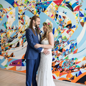 Colorful Chicago wedding portrait
