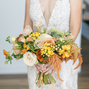 Yellow and orange bridal bouquet