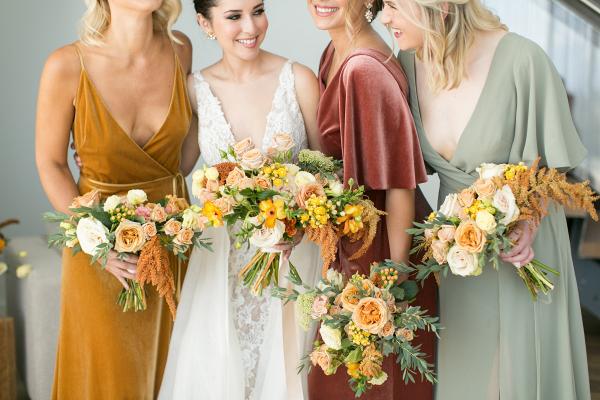 Yellow and mauve fall bridesmaid looks