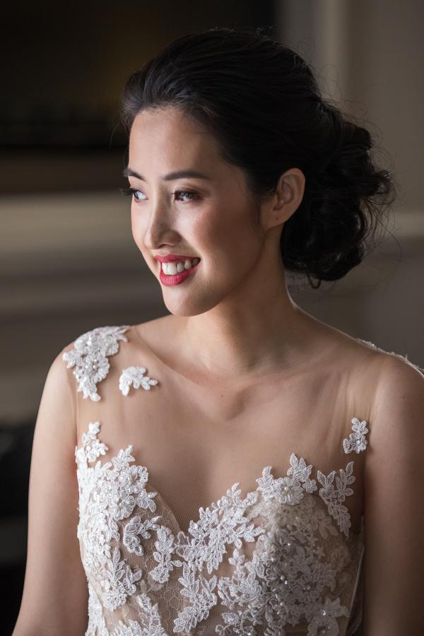 Illusion lace wedding dress