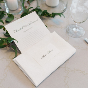 Classic wedding place setting with menu