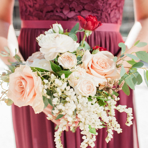 Blush and red bridesmaid bouquet
