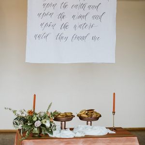 Dessert table with calligraphy signage