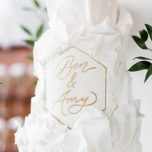 Modern romantic white wedding cake