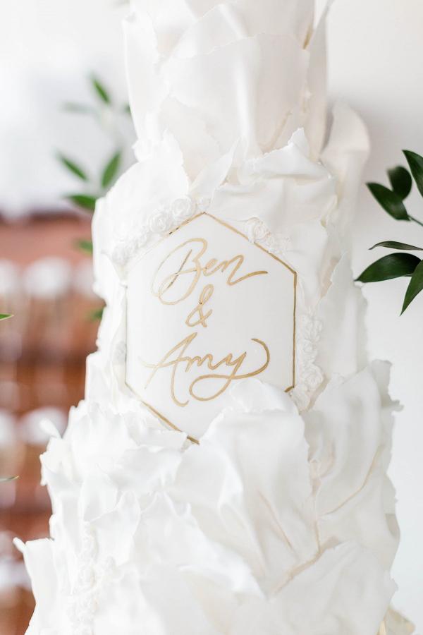 Modern romantic white wedding cake