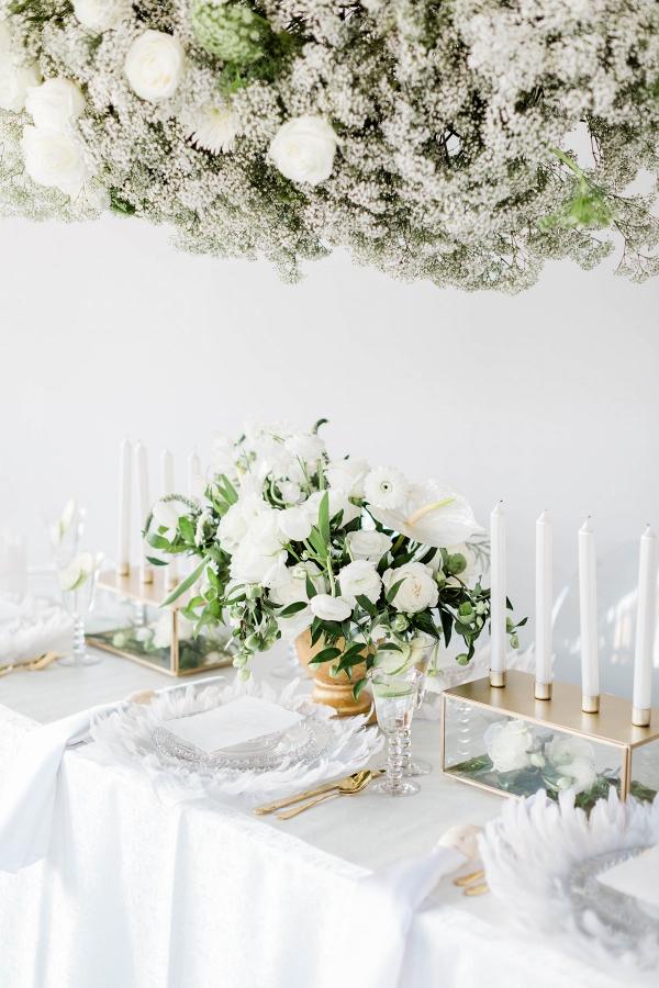 All white wedding tablescape