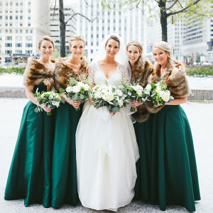 Winter emerald green bridesmaid dresses