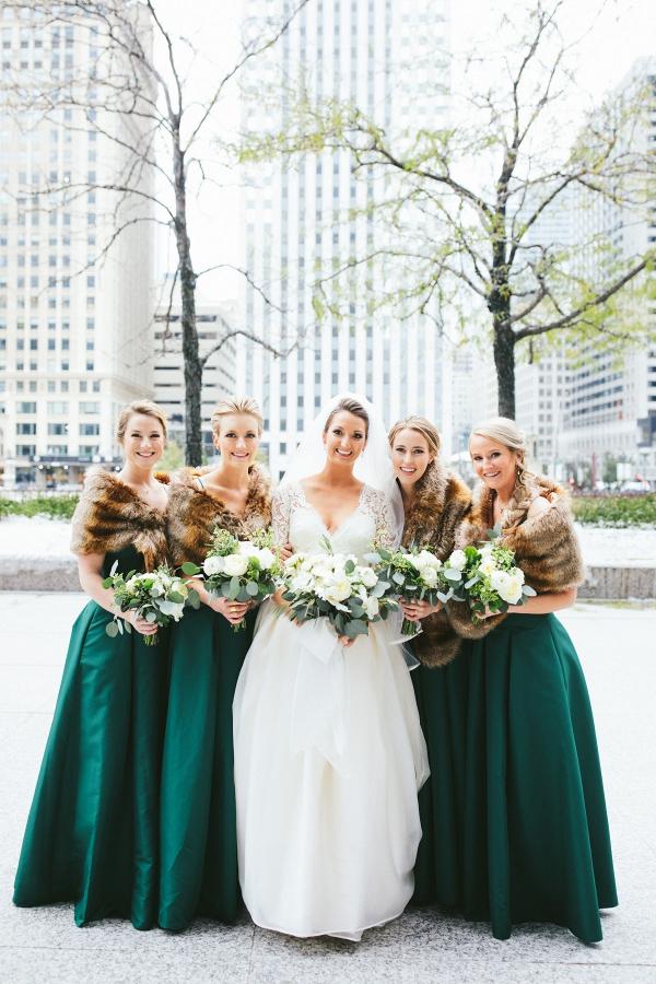 Winter emerald green bridesmaid dresses