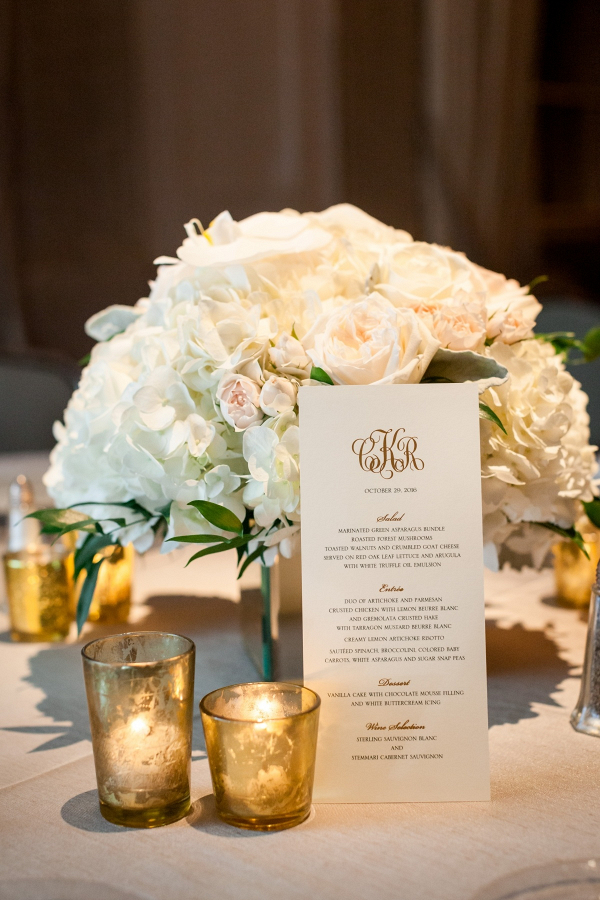 Classic white flower square wedding centerpiece