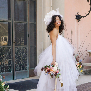 Bride in modern layered tulle wedding dress