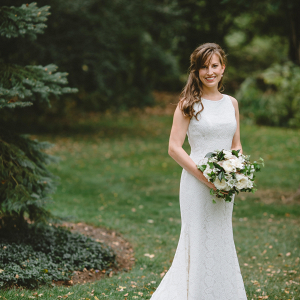 Garden wedding bride in sheath gown