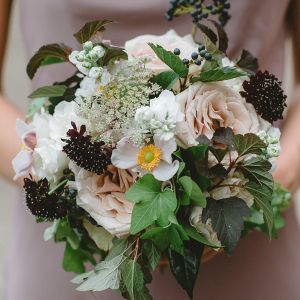 Rose and scabiosa bridesmaid bouquet