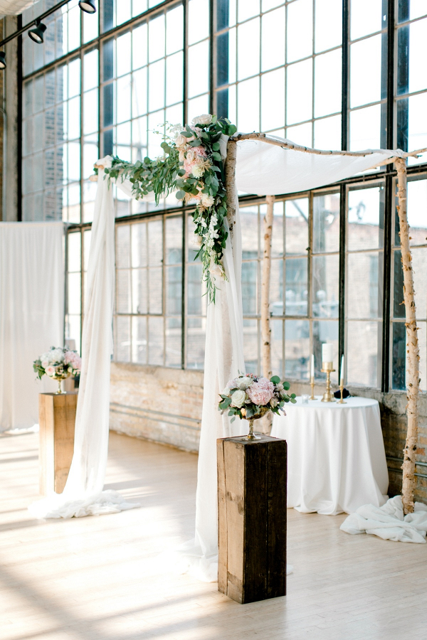 Birch wood and draping ceremony chuppah