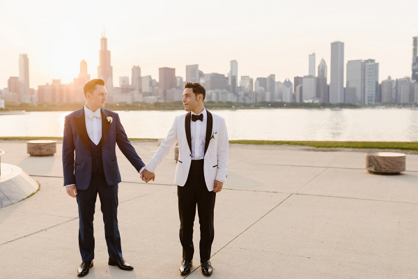 Same sex Chicago wedding portrait at sunset