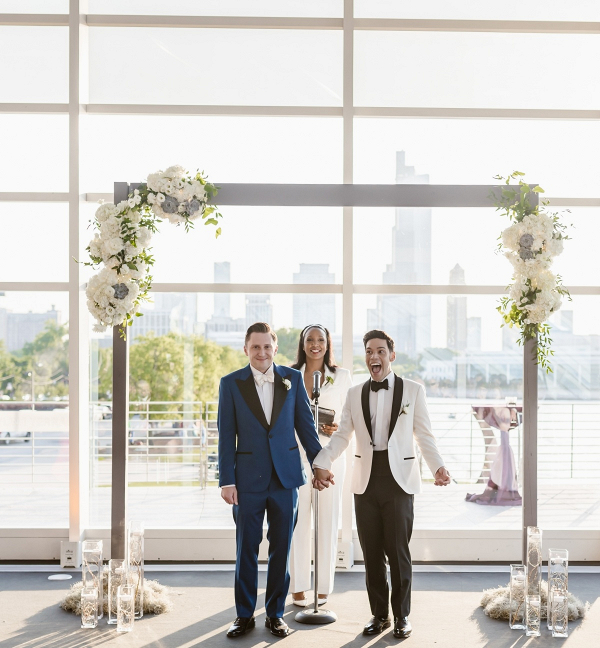 Same sex planetarium wedding