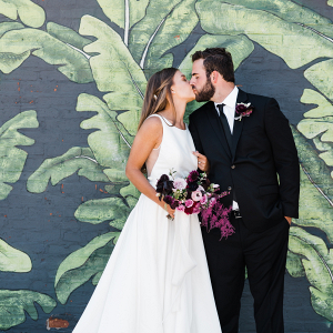Modern Chicago mural wedding portrait