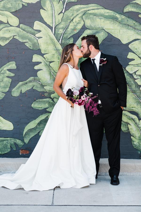 Modern Chicago mural wedding portrait