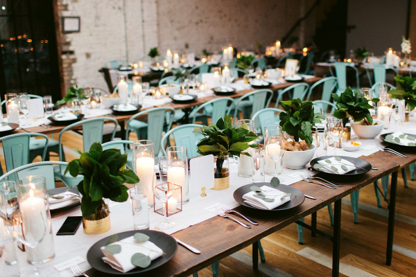 Modern greenery wedding table