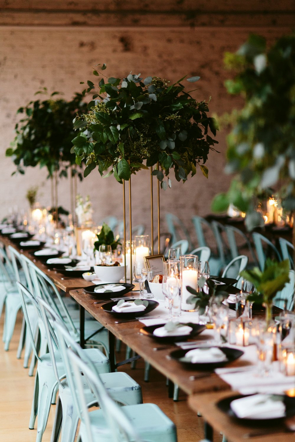 Tall greenery centerpieces