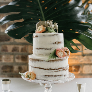 Semi naked wedding cake with animal cake topper