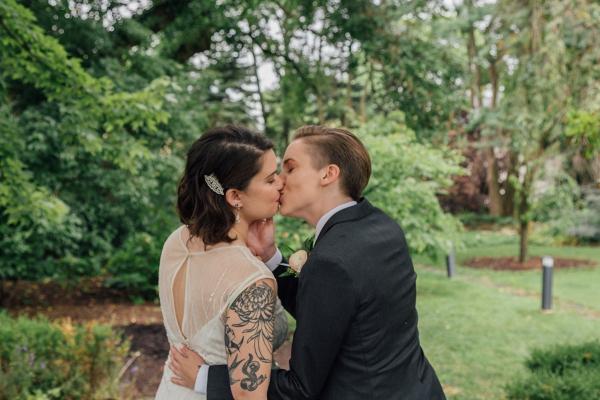 Romantic lesbian wedding portrait