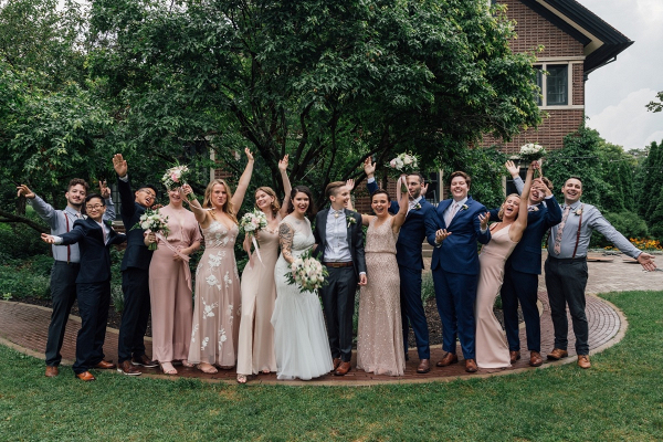 Blush and blue wedding party