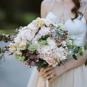 Romantic blush and mauve bridal bouquet