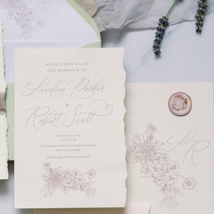 Floral illustration wedding invitation suite