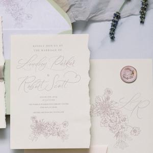Floral illustration wedding invitation suite
