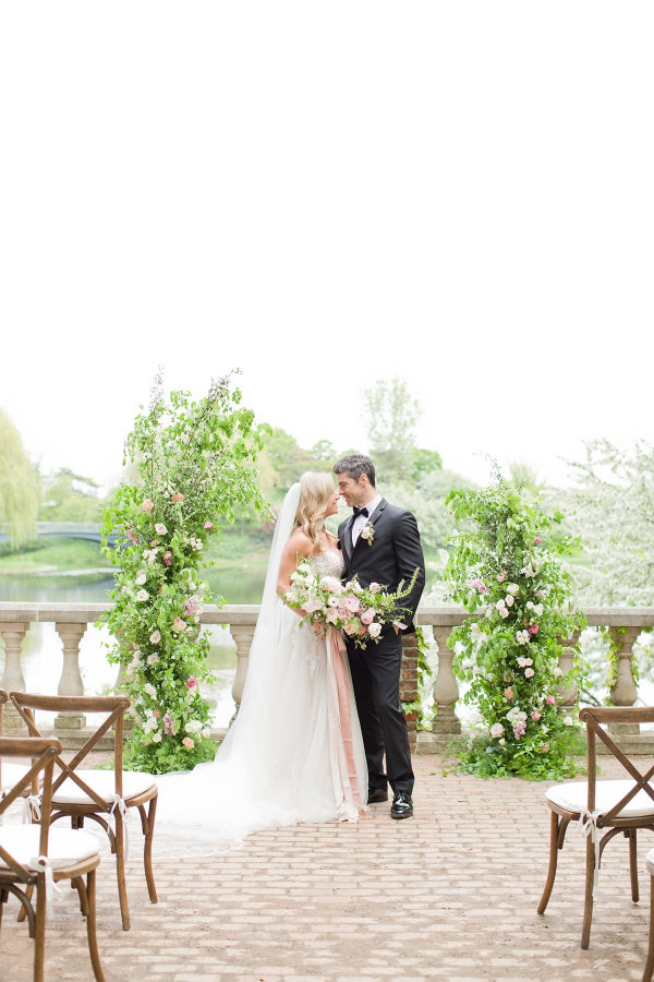 Garden greenery ceremony backdrop