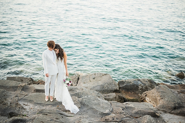 Brides on lakefront