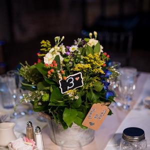 Rustic galvanized metal wedding centerpiece